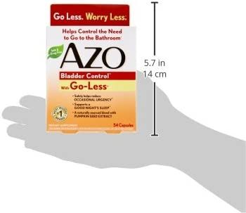 AZO Bladder Control with Go-Less Daily Supplement   Helps Reduce Occasional Urgency*   Helps reduce occasional leakage due to laughing, sneezing and exercise   54 Count Capsules