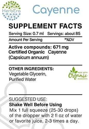 Cayenne B60 Alcohol-Free Herbal Extract Tincture, Super-Concentrated Organic (Capsicum annuum) 2 fl oz