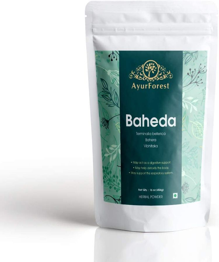 AyurForest Baheda Powder | Terminalia Belerica | bahera 16 oz 454 GMS, All Natural Non-GMO, Fragile Hair, Healthy Digestion, Support Hair Growth and Maintain Skin Tone