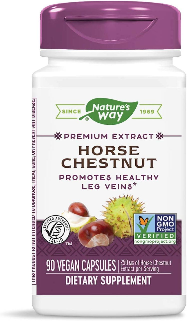 Nature's Way Standardized Horse Chestnut, TRU-ID Certified, Non-GMO Project, Vegetarian, 250 mg per serving, 90 Count