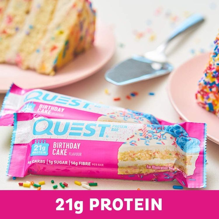 Quest Nutrition Birthday Cake Protein Bar, High Protein, Low Carb, Gluten Free, Keto Friendly, 12 Count