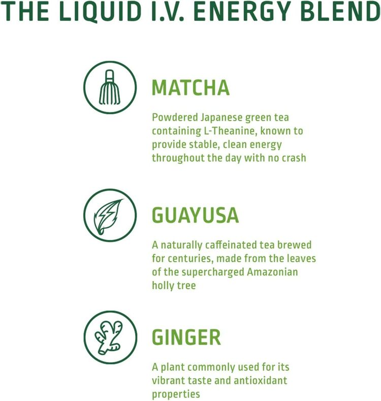 Liquid I.V. Energy Multiplier, Super-Charged Matcha Mix, 9 Essential Vitamins, Natural Caffeine, Easy Open Packets, Supplement Drink Mix, (Lemon Ginger) (10 Count)