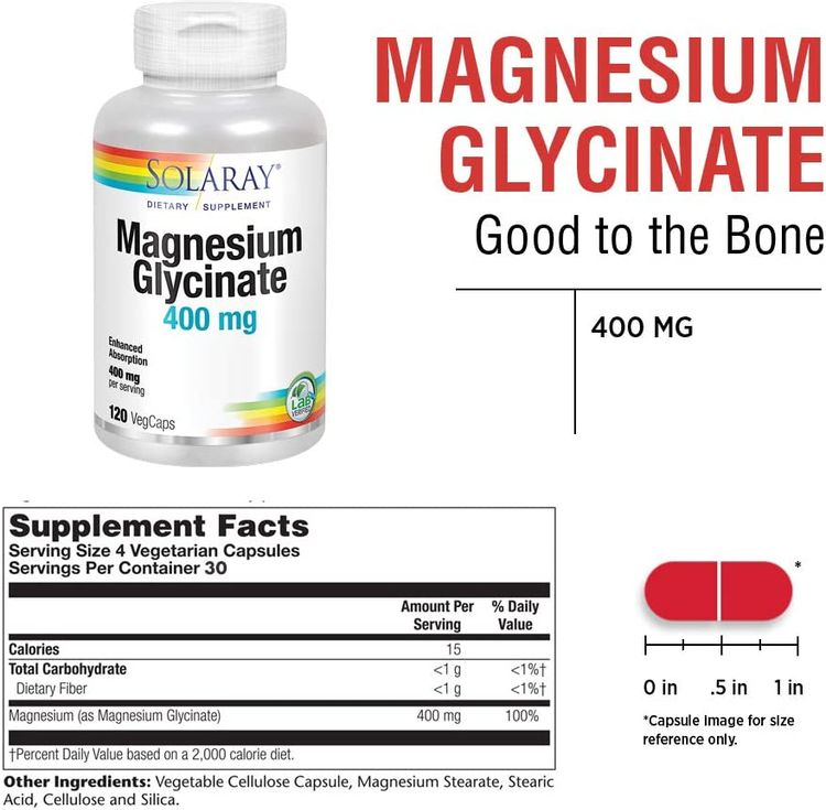 Solaray Magnesium Glycinate 400 mg | Healthy Relaxation, Bone & Cardiovascular Support (120 CT, 30 Servings)
