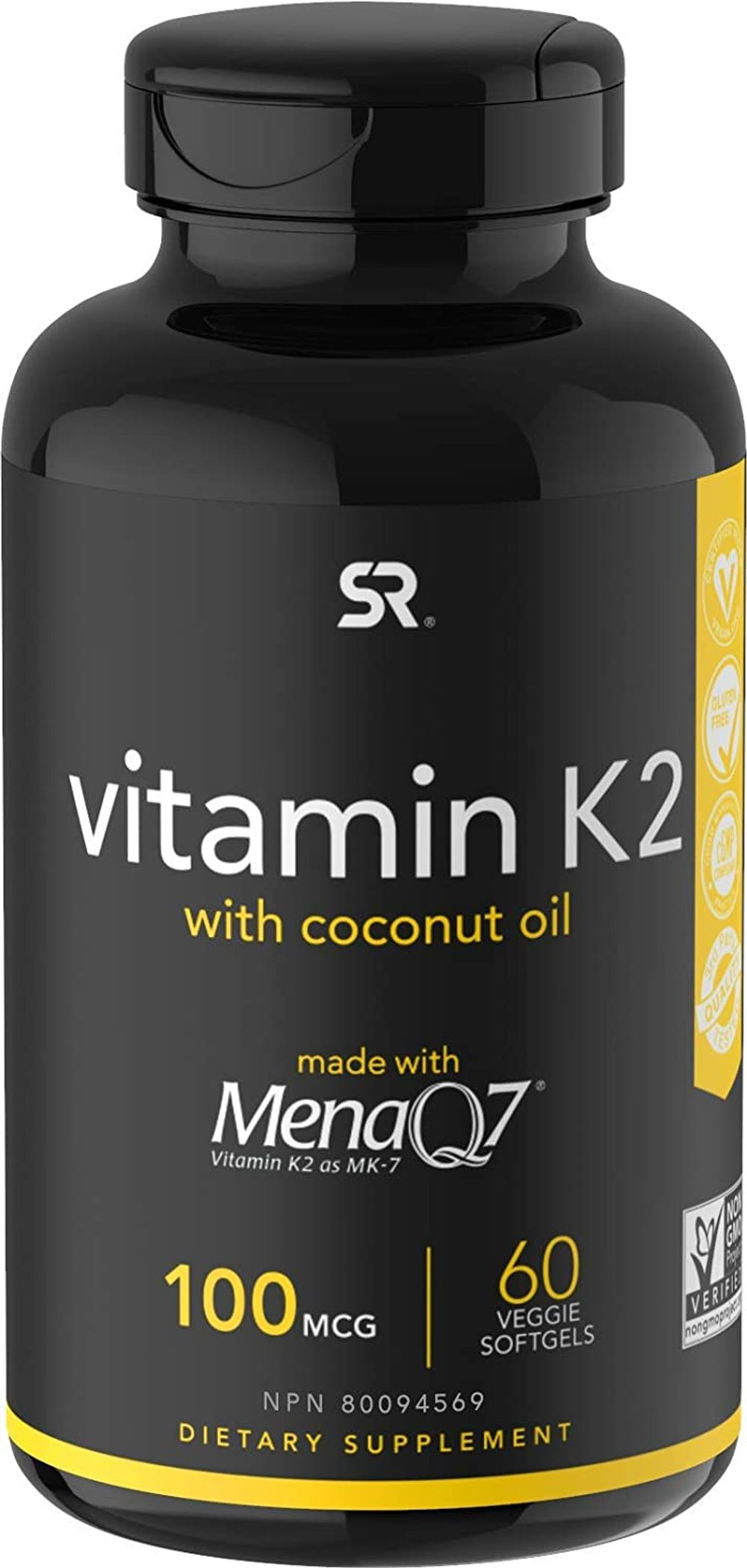 Vitamin K2 (as MK7) with Organic Coconut Oil | Made with MenaQ7 from Fermented Chickpea | Non-GMO Verified, Vegan Certified (60 Veggie-Softgels)
