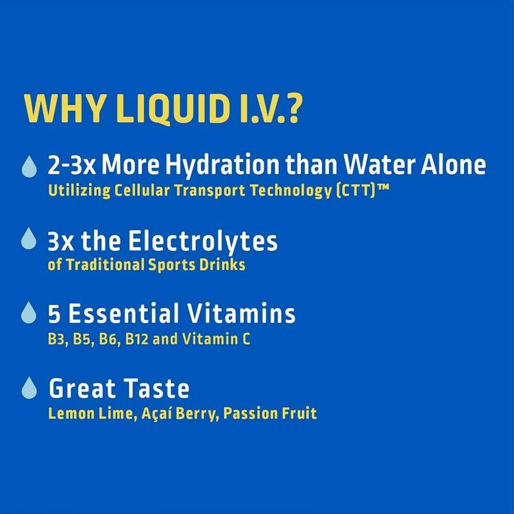 Liquid I.V. Hydration Multiplier, Electrolyte Powder, Easy Open Packets, Supplement Drink Mix (Acai Berry) (8)