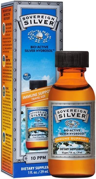 Sovereign Silver Bio-Active Silver Hydrosol for Immune Support - 10 ppm, 1oz (29mL) - Travel Size