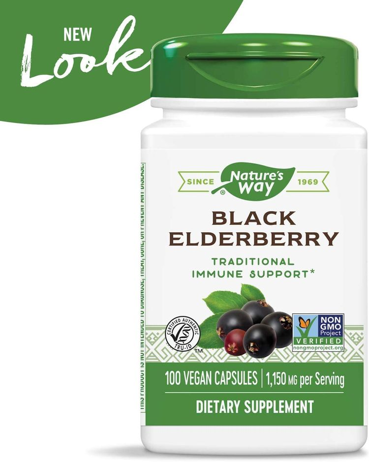 Nature's Way Black Elderberry Capsules, 1,150 mg per serving, Immune Support, 100-Count (Packaging May Vary)