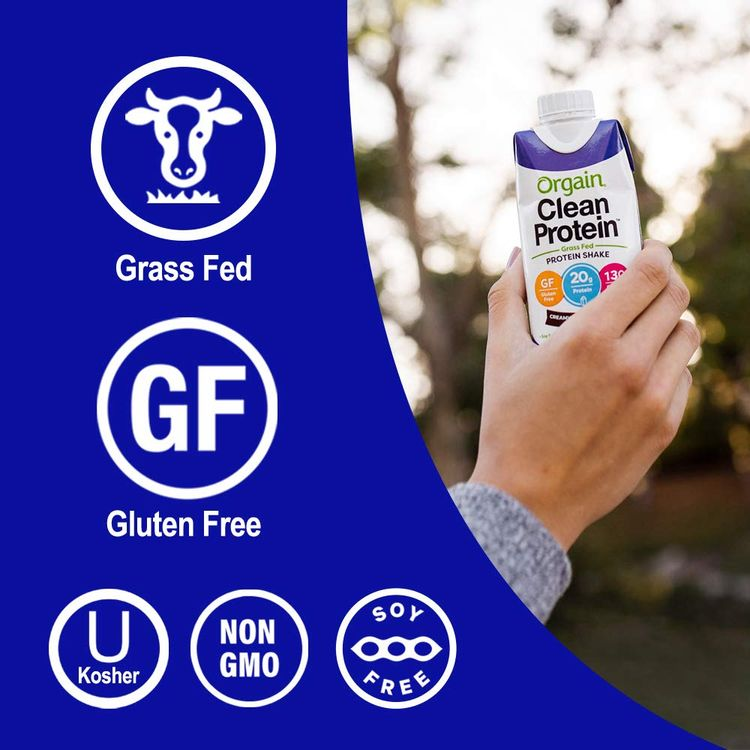 Orgain Grass Fed Clean Protein Shake, Creamy Chocolate Fudge - Meal Replacement, Ready to Drink, Gluten Free, Soy Free, Kosher, Non-GMO, 11 Oz, 12 Count (Packaging May Vary)