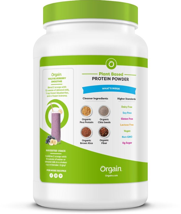 Orgain Organic Plant Based Protein Powder, Natural Unsweetened - Vegan, Low Net Carbs, Non Dairy, Gluten Free, Lactose Free, No Sugar Added, Soy Free, Kosher, Non-GMO, 1.59 Pound (Packaging May Vary)