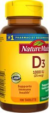 Nature Made Vitamin D3 1000 IU (25mcg) Tablets, 100 Count for Bone Health†