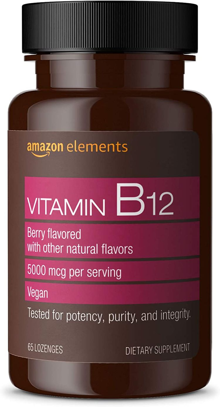 Elements Vitamin B12 Methylcobalamin 5000 mcg - Normal Energy Production and Metabolism, Immune System Support - 2 Month Supply (65 Berry Flavored Lozenges)