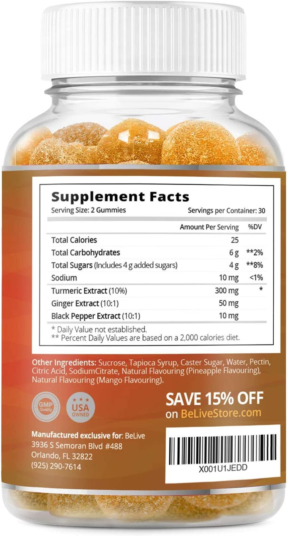 Turmeric Curcumin Gummies with Ginger & Black Pepper Extract, Joint Support and Pain Relief. Anti-Inflammatory, Chews for Adults & Kids, 60 Chewable Gummy Vitamins