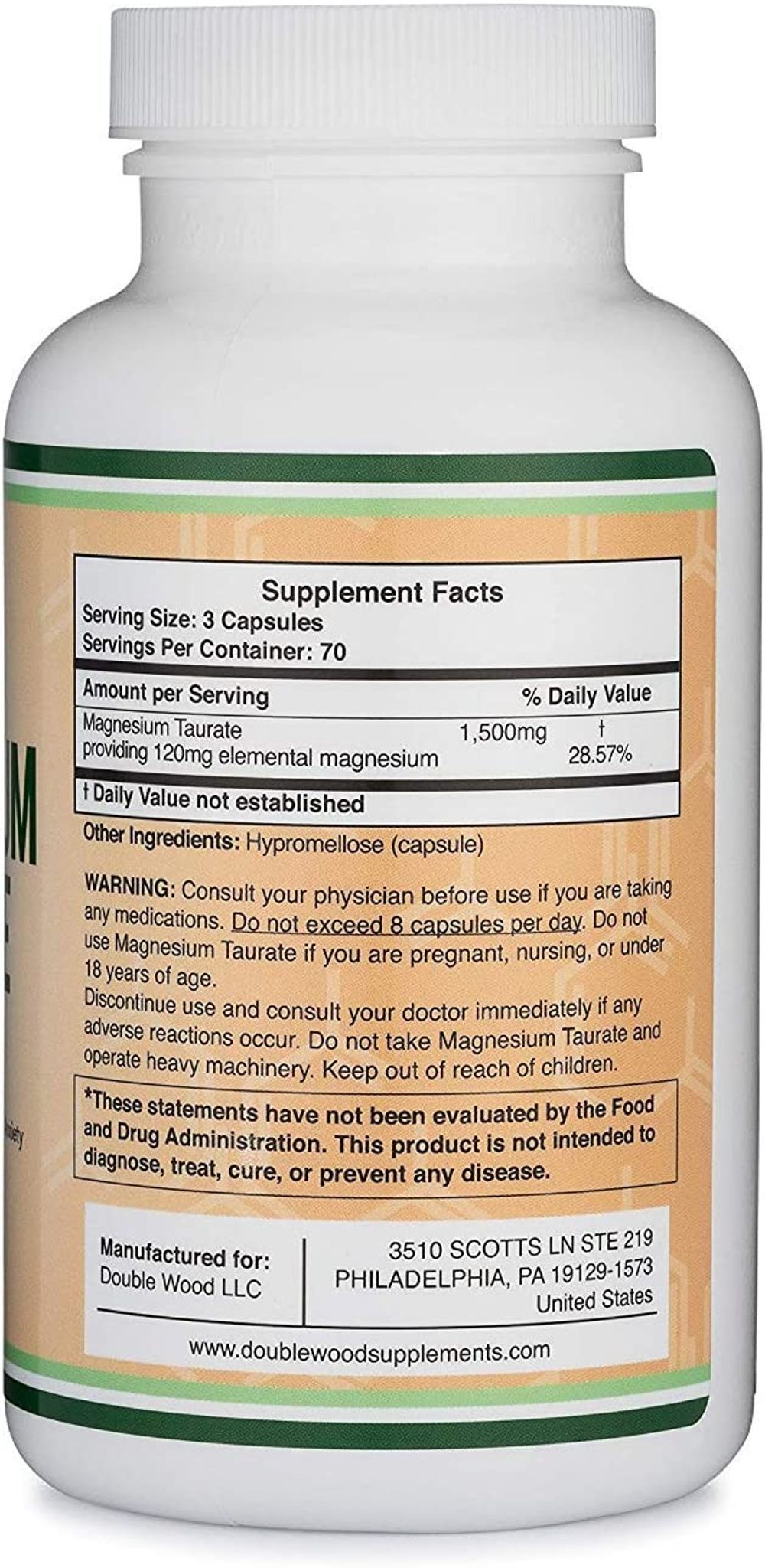 Magnesium Taurate Supplement For Sleep, Calming, and Cardiovascular Support (500mg, 210 Vegan Capsules) Made in USA, by Double Wood Supplements
