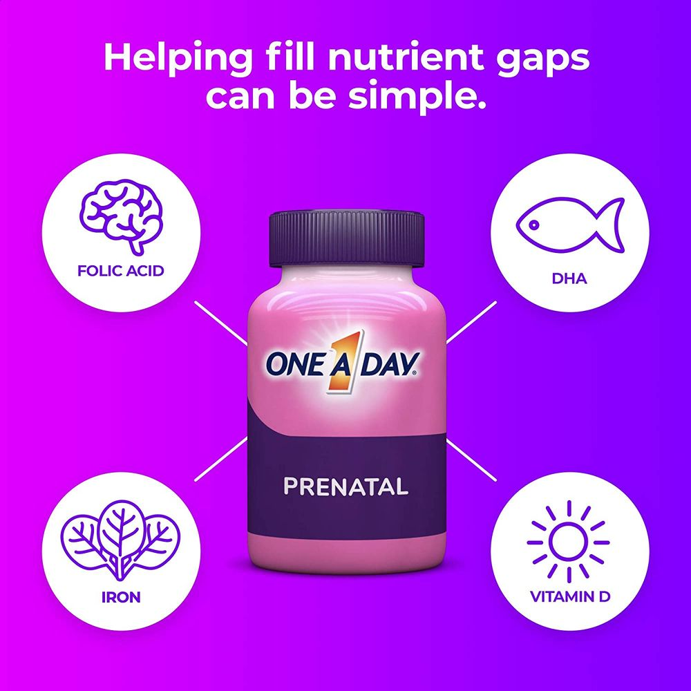 One A Day Women's Prenatal 1 Multivitamin including Vitamin A, Vitamin C, Vitamin D, B6, B12, Iron, Omega-3 DHA & more, 60 Count - Supplement for Before, During, & Post Pregnancy