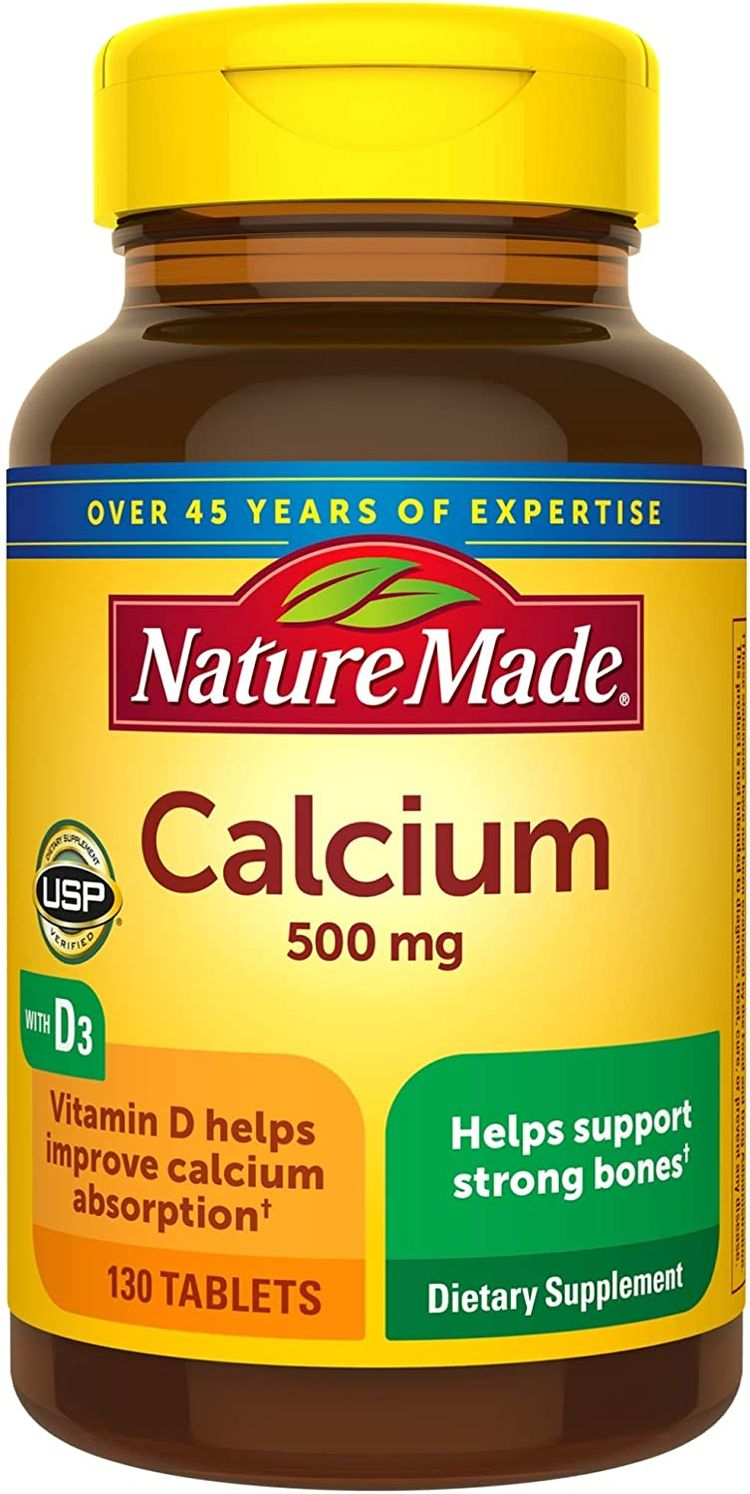 Nature Made Calcium 500 mg Tablets with Vitamin D, 130 Count for Bone Health (Packaging May Vary)