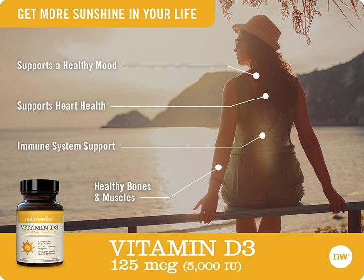 NatureWise Vitamin D3 5,000 IU (3 Month Supply) for Healthy Muscle Function, Bone Health, and Immune Support Non-GMO in Cold-Pressed Organic Olive Oil Gluten-Free (Packaging May Vary) [90 Count]