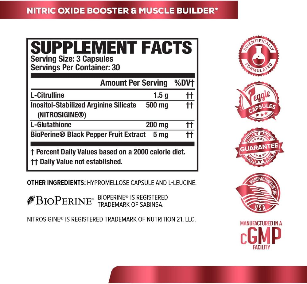 N.O. XT Nitric Oxide Supplement With Nitrosigine L Arginine & L Citrulline for Muscle Growth, Pumps, Vascularity, & Energy - Extra Strength Pre Workout N.O. Booster & Muscle Builder - 90 Veggie Pills