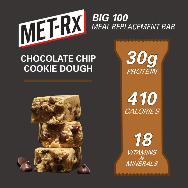 MET-Rx Big 100 Colossal Protein Bar, Chocolate Chip Cookie Dough, 100 g Bar (9 count), High Protein Bars to Support Energy Levels and Muscles, Great as A Meal Replacement, Gluten Free