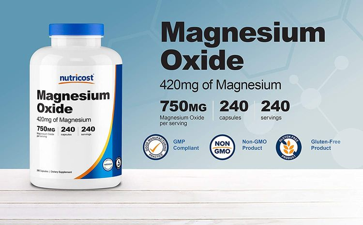 Nutricost Magnesium Oxide 750mg, 240 Capsules (2 Bottles)