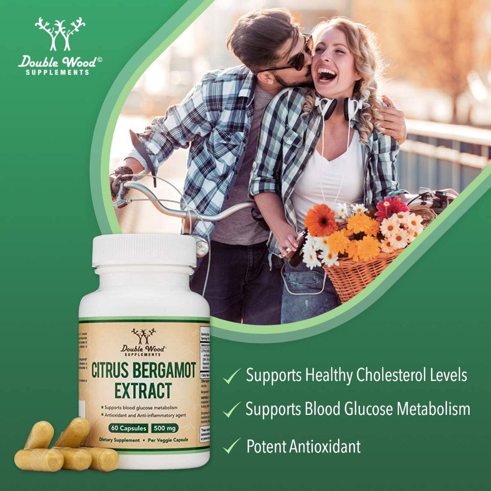 Citrus Bergamot Capsules 1,000 mg per Serving (Patented Bergamonte Vegan Cholesterol Support Extract) Citrus Bioflavonoids Supplement for Healthily Cholesterol Levels, 60 Capsules by Double Wood