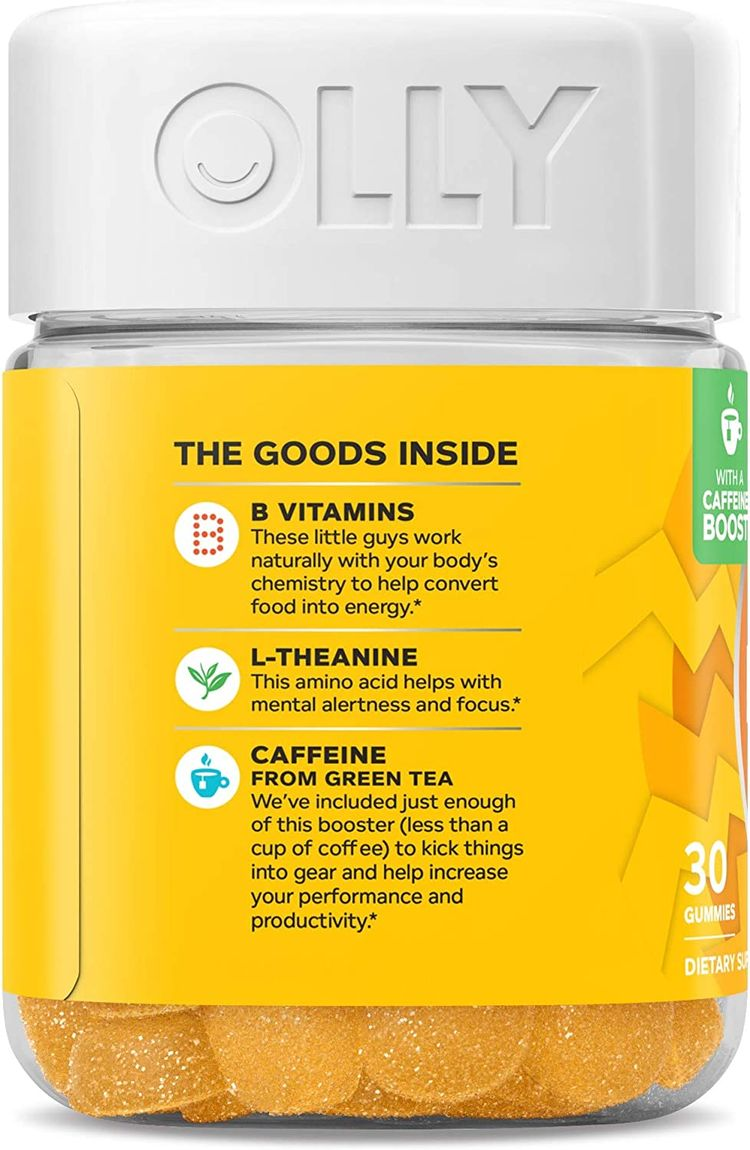OLLY Swift Energy Gummy, 10 Servings (30 Gummies), Pineapple Punch, B Vitamins, L Theanine, Caffeine from Green Tea, Chewable Supplement