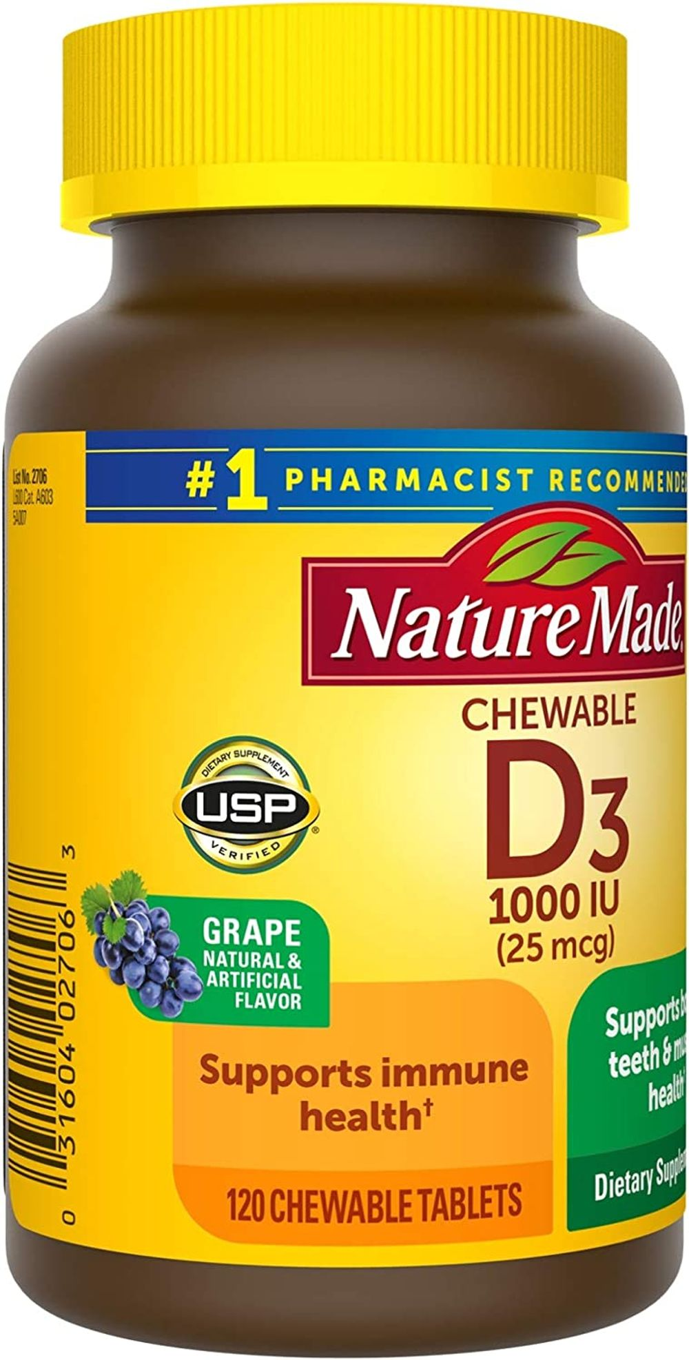 Nature Made Vitamin D3 1000 IU (25mcg) Chewable Tablets, 120 Count for Bone Health† (Packaging May Vary)