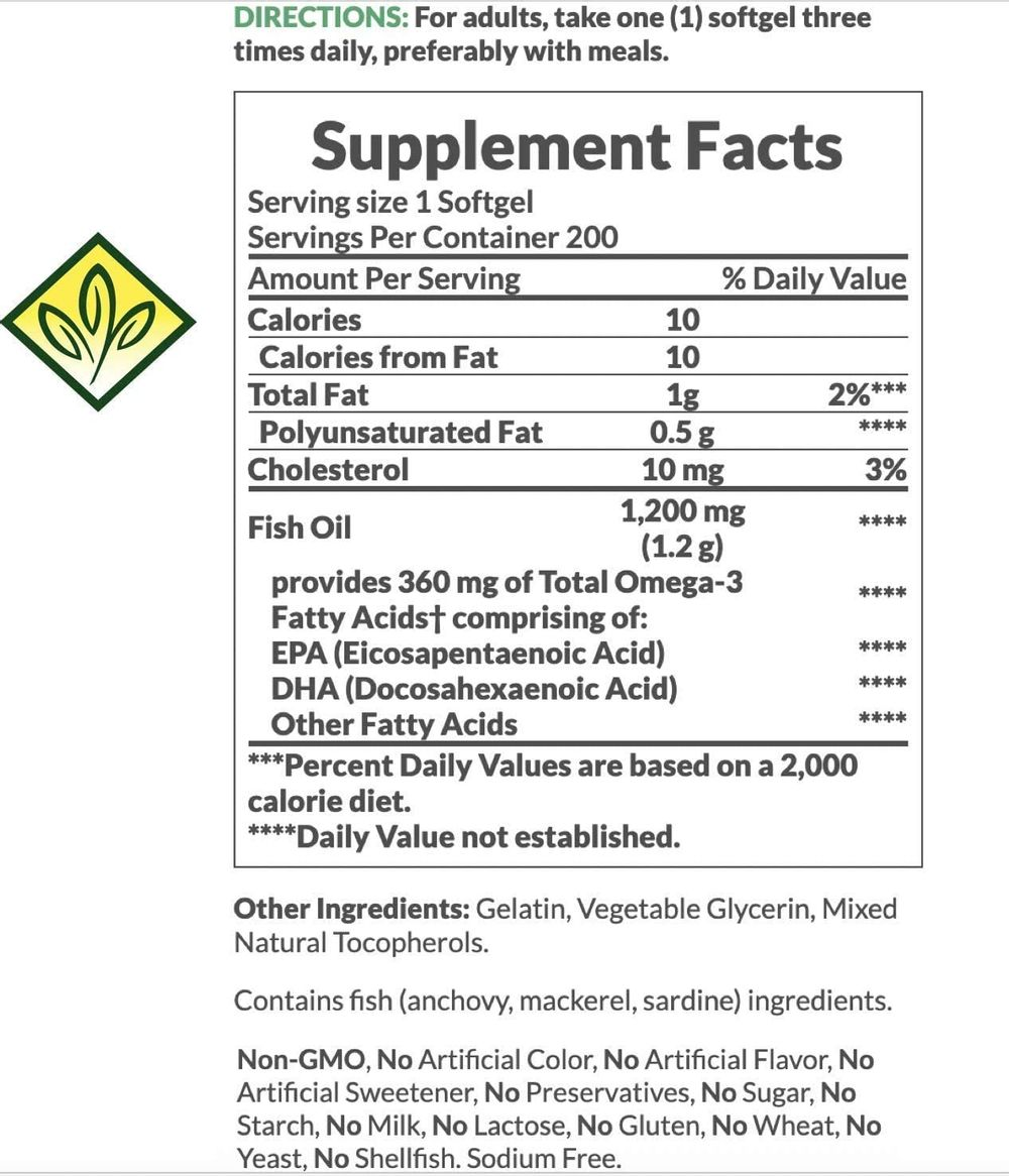 Fish Oil by Nature's Bounty, Dietary Supplement, Omega-3, Supports Heart Health, 1200 Mg, 200 Rapid Release Softgels