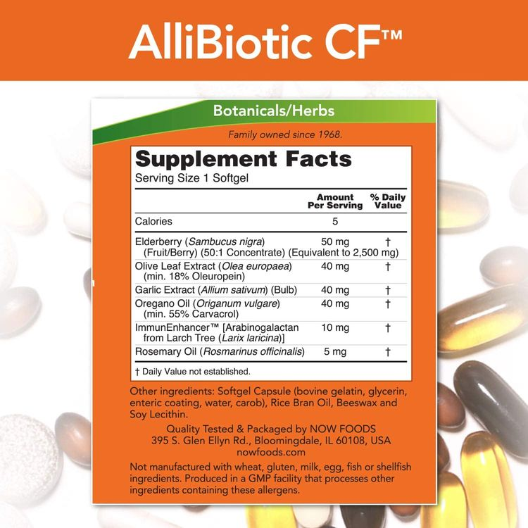 NOW Supplements, AlliBiotic CF™, with Garlic Extract, Olive Leaf Extract, Elderberry & Oregano, Non-Drowsy Formula, 60 Softgels