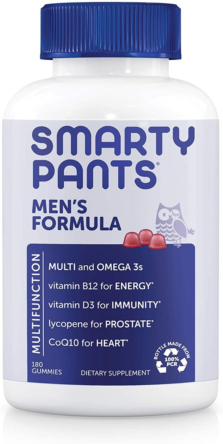 SmartyPants Men's Formula Daily Gummy Multivitamin: Vitamin C, D3, and Zinc for Immunity, CoQ10 for Heart Health, Omega 3 Fish Oil, B6, Methyl B12 for Energy, 180 Count (30 Day Supply)