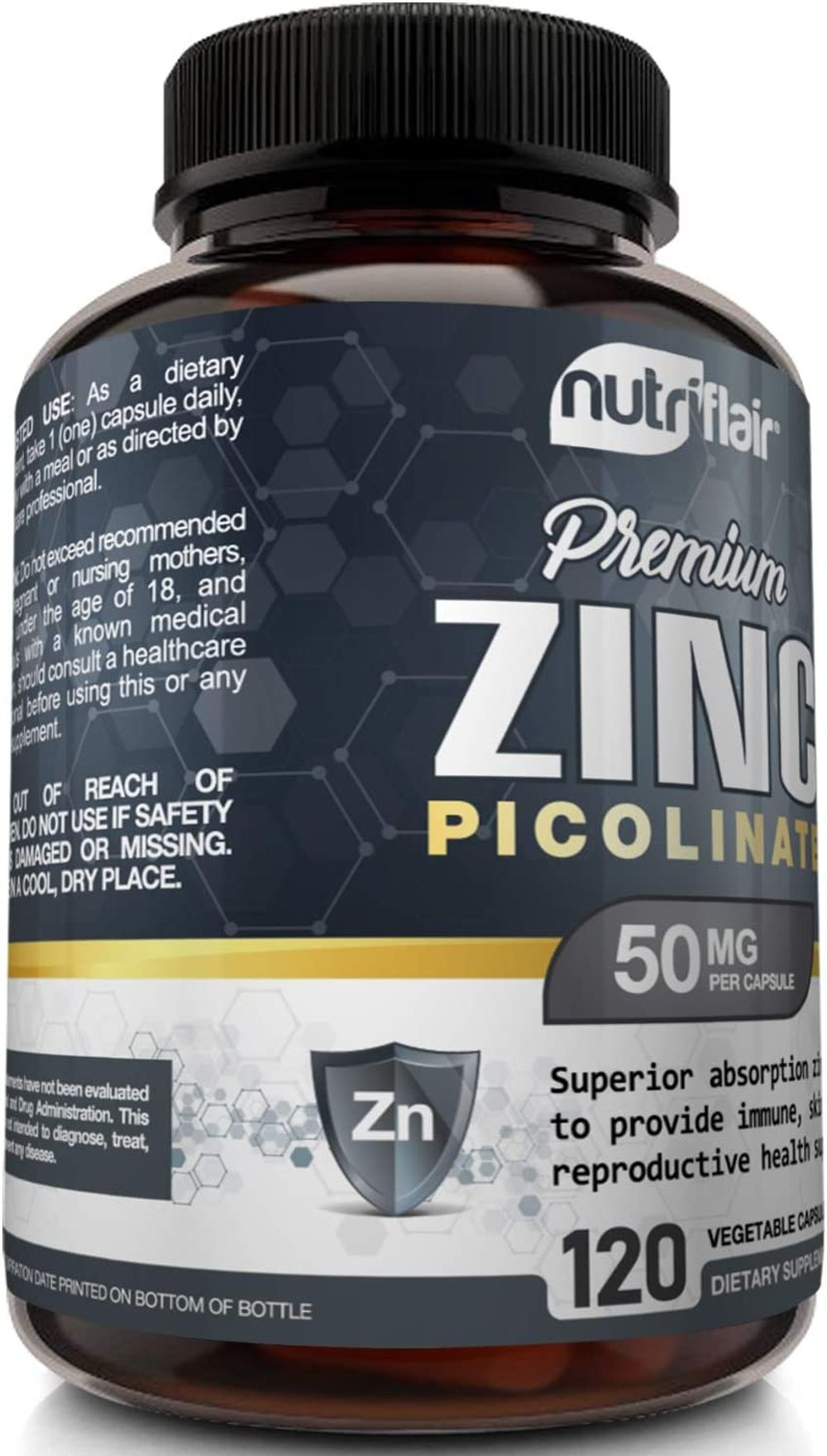 NutriFlair Zinc Picolinate 50mg, 120 Capsules - Maximum Absorption Zinc Supplement Pills - Immune System Booster, Immunity Defense, Powerful Non-GMO Antioxidant - Compare to gluconate, Citrate, Oxide