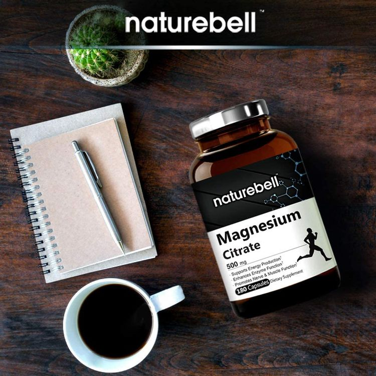 NatureBell Magnesium Citrate 500mg,180 Capsules, Powerfully Supports Energy, Metabolism, Muscles, Heart and Bone Health (2)