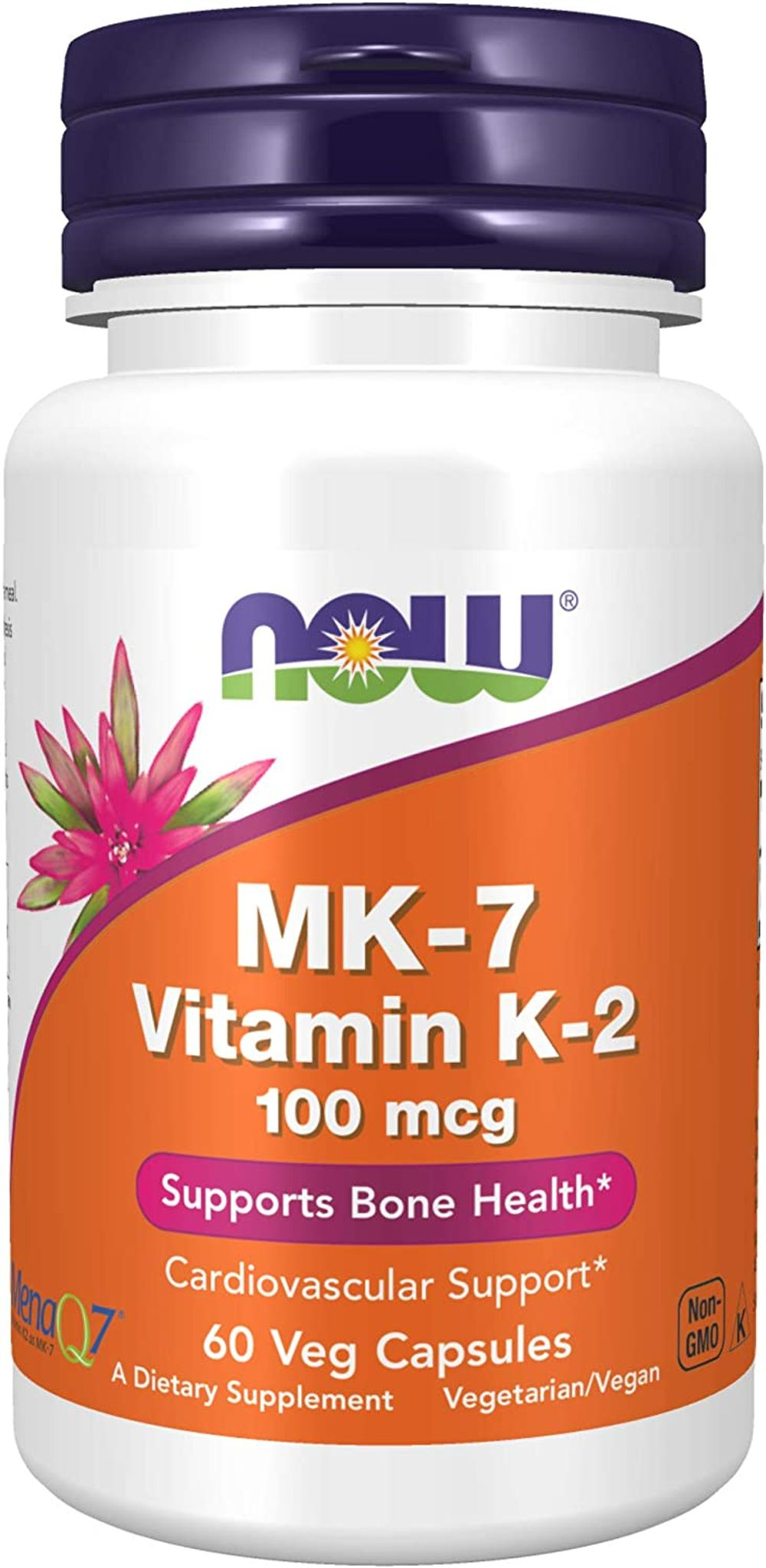 NOW Foods NOW Supplements, MK-7 Vitamin K-2 100 mcg, Cardiovascular Support*, Supports Bone Health*, 60 Veg Capsules