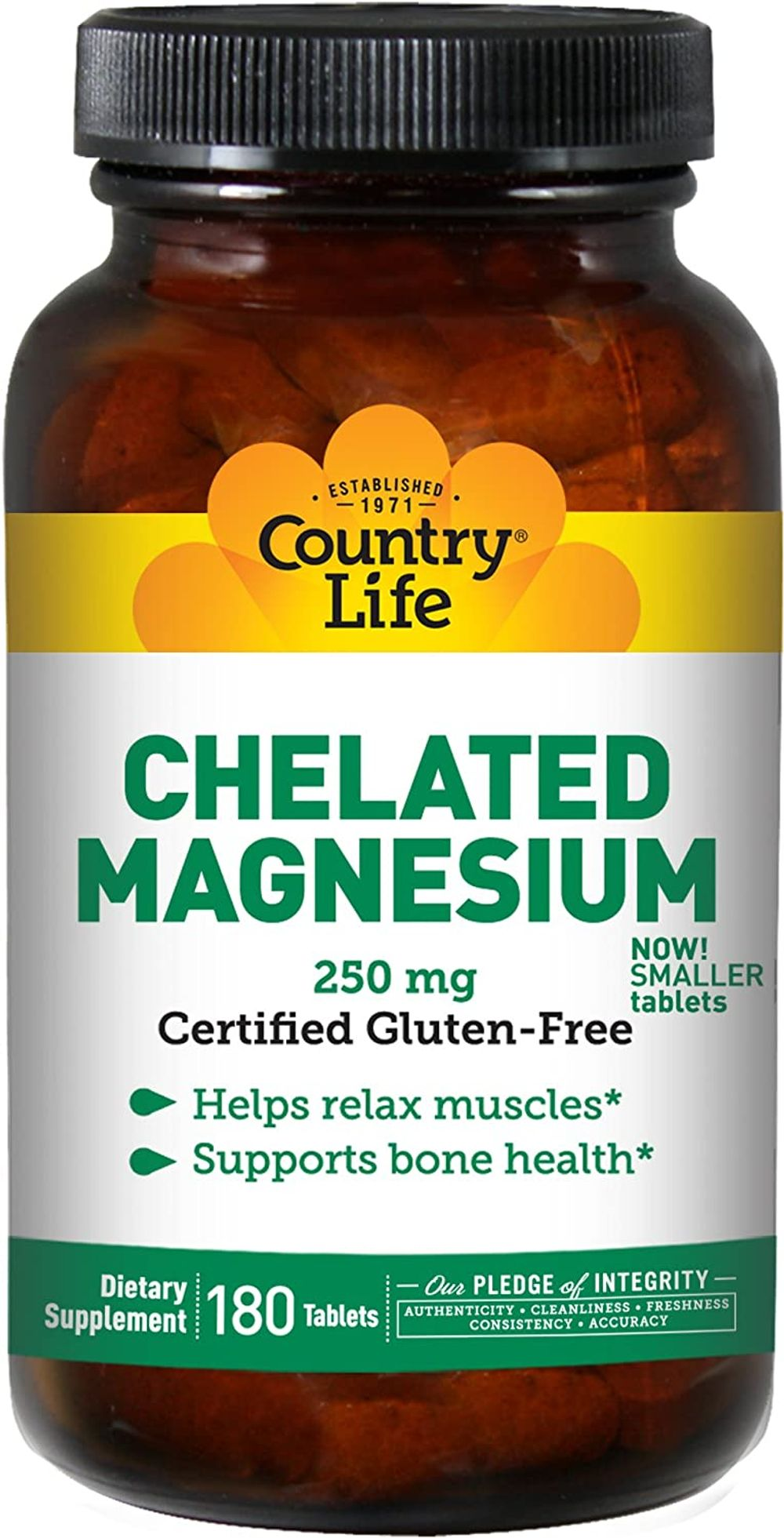 Country Life - Chelated Magnesium, 250 mg, 180 Tablets
