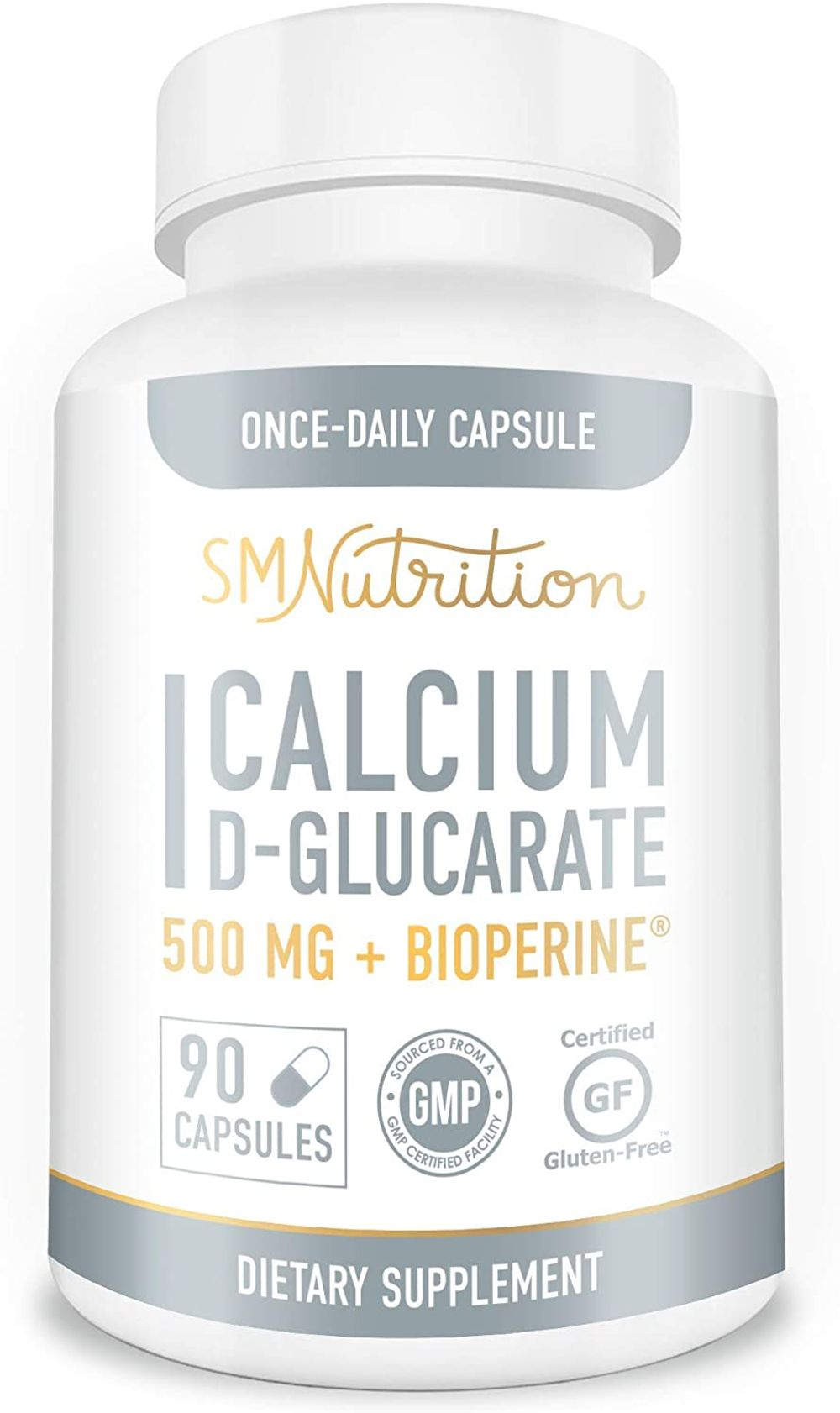 Calcium D-Glucarate 500mg 90 Vegetarian Capsules (3-Month Supply) CDG for Liver Detox & Cleanse, Weight Loss, Prostate, Metabolism, Menopause. Non-GMO, Soy-Free, Keto-Friendly