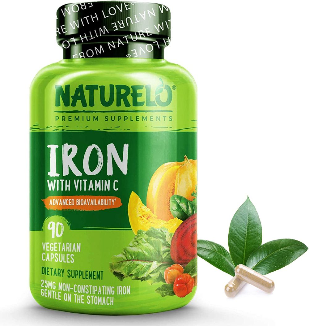 NATURELO Vegan Iron Supplement with Whole Food Vitamin C - Best Natural Iron Pills for Women & Men w/Iron Deficiency Including Pregnancy, Anemia and Vegan Diets - 90 Mini Capsules