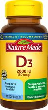 Nature Made Vitamin D3 2000 IU (50 mcg) Softgels, 90 Count for Bone Health† (Packaging May Vary)