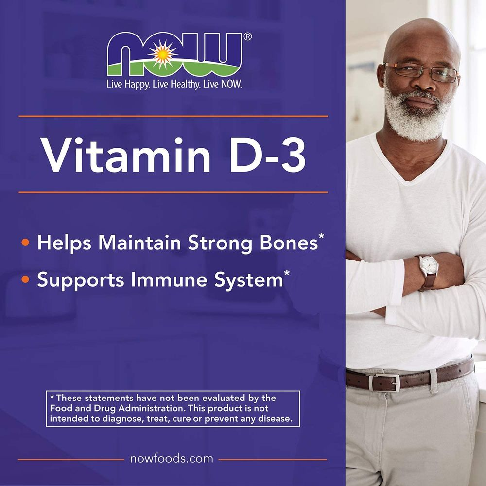 NOW Foods Supplements, Vitamin D-3 5,000 IU, High Potency, Structural Support*, 240 Softgels