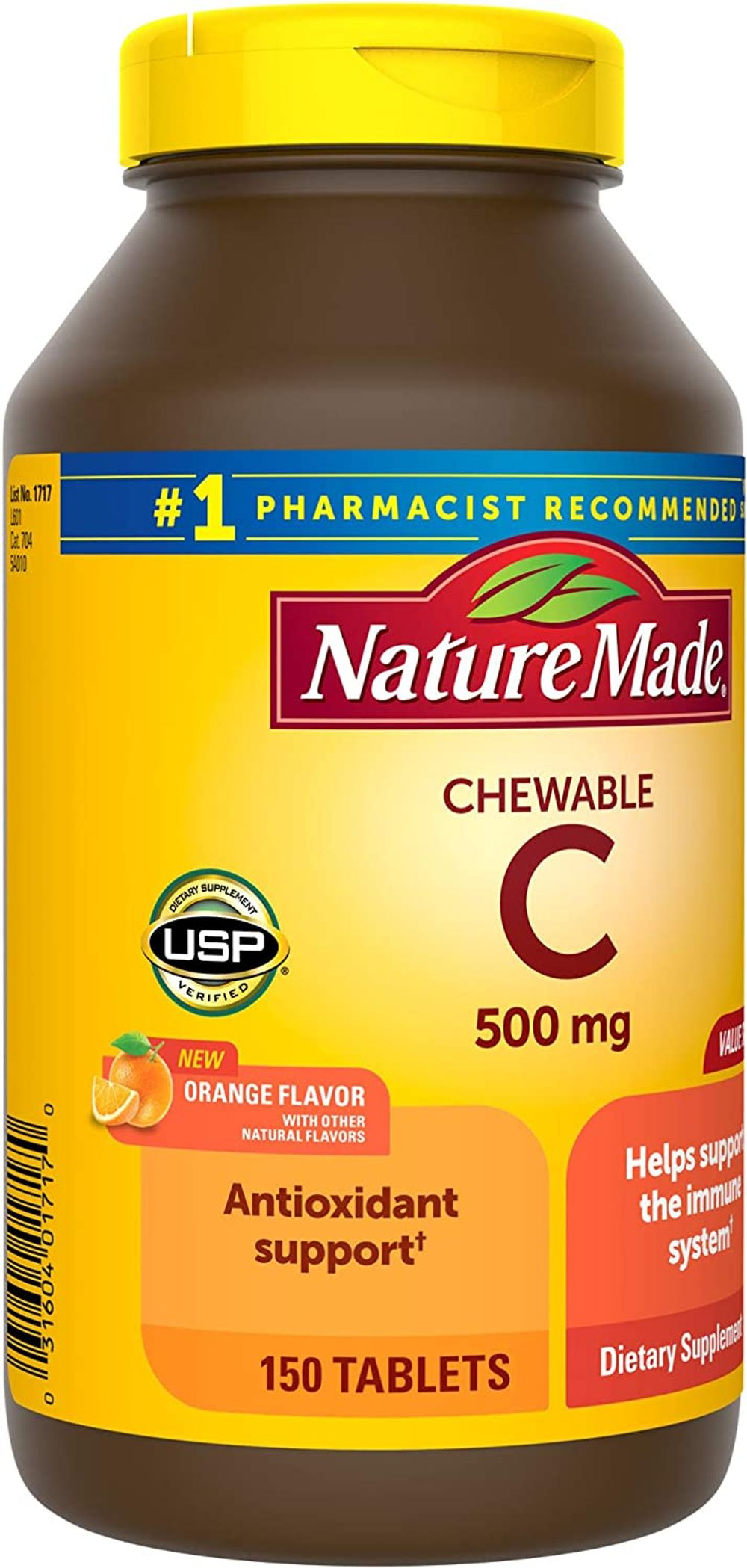 Nature Made Chewable Vitamin C 500 mg Tablets, 150 Count Value Size