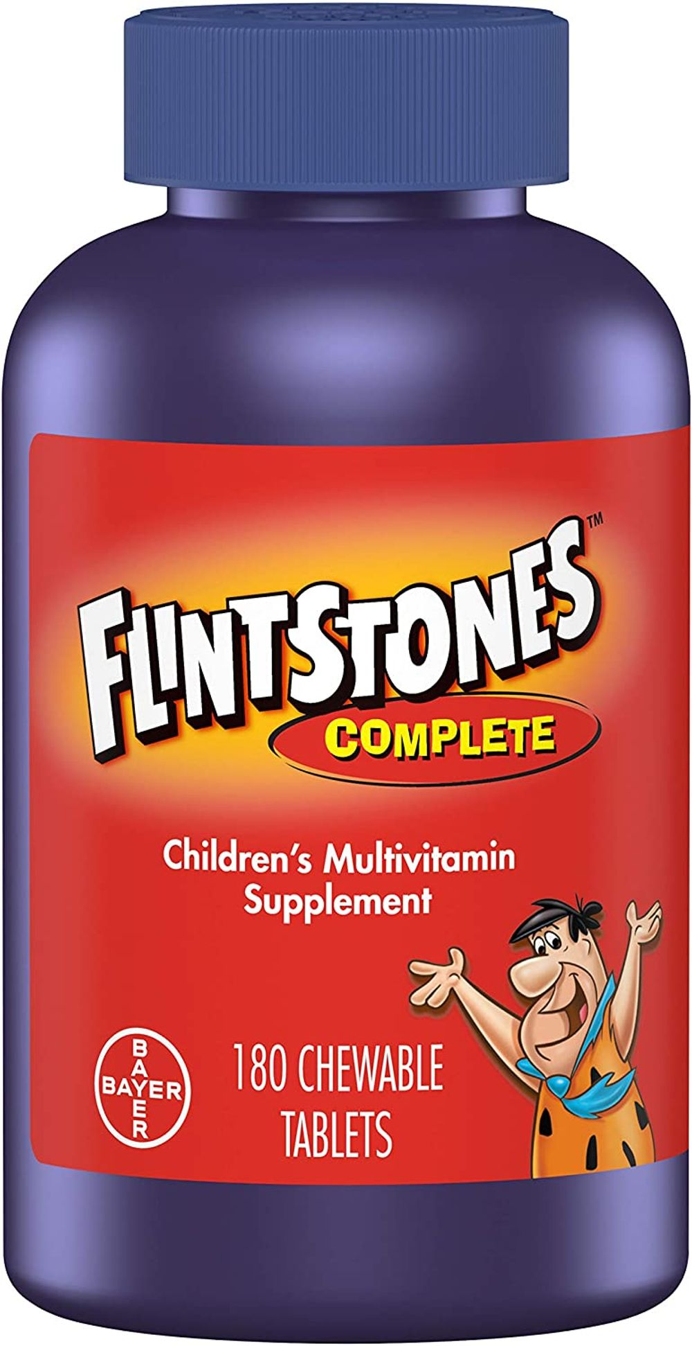 Flintstones Vitamins Chewable Kids Vitamins, Complete Multivitamin for Kids and Toddlers with Iron, Calcium, Vitamin C, Vitamin D & More, ct Original Version Fruit, 180 Count (Pack of 1)