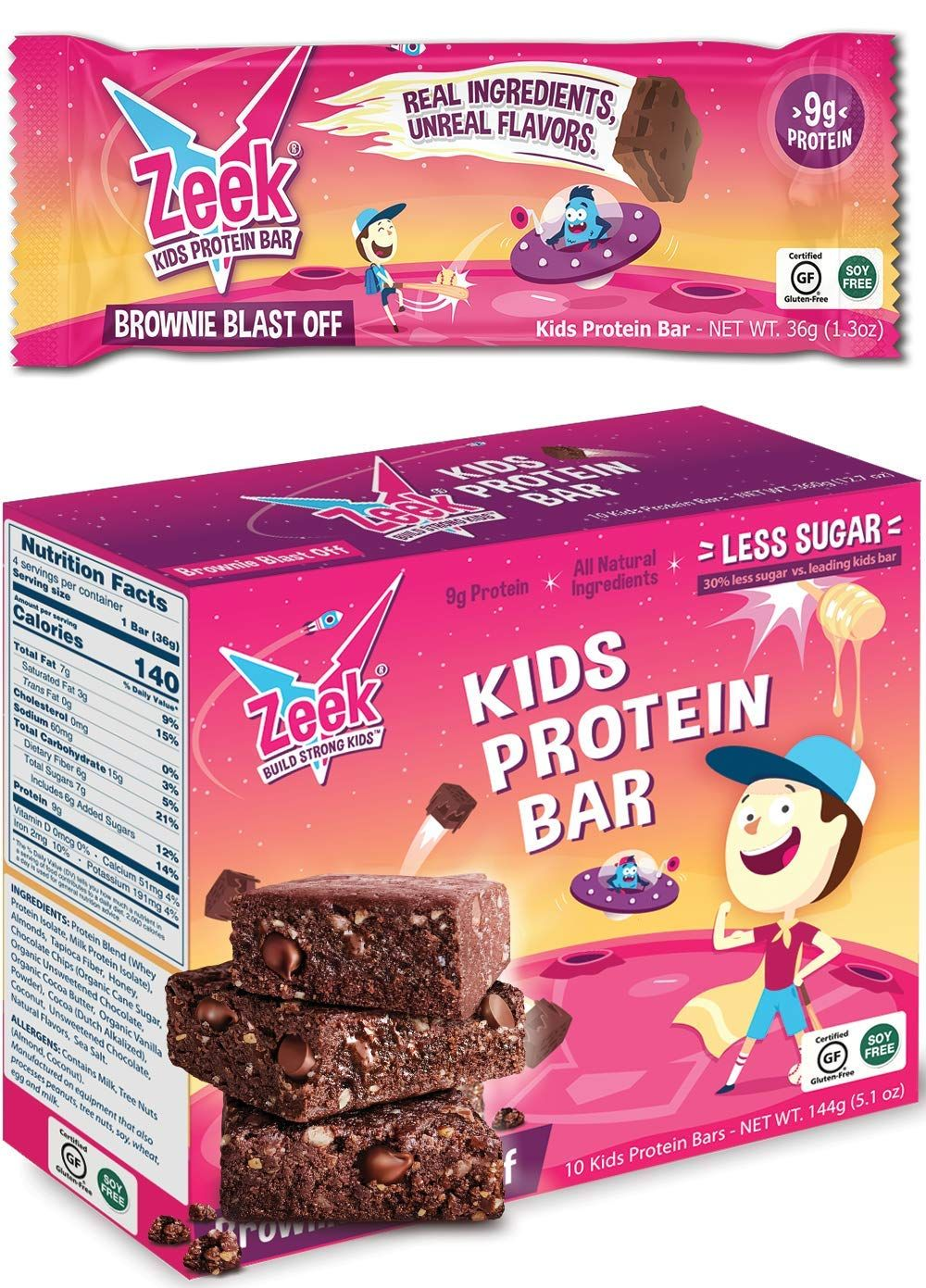 Zeek Kids Protein Bars- High Protein, Low Sugar Snack Bar for Kids. Made with Natural Ingredients. Great for Lunch Box, After School, or Before Practice! Gluten Free, Soy Free