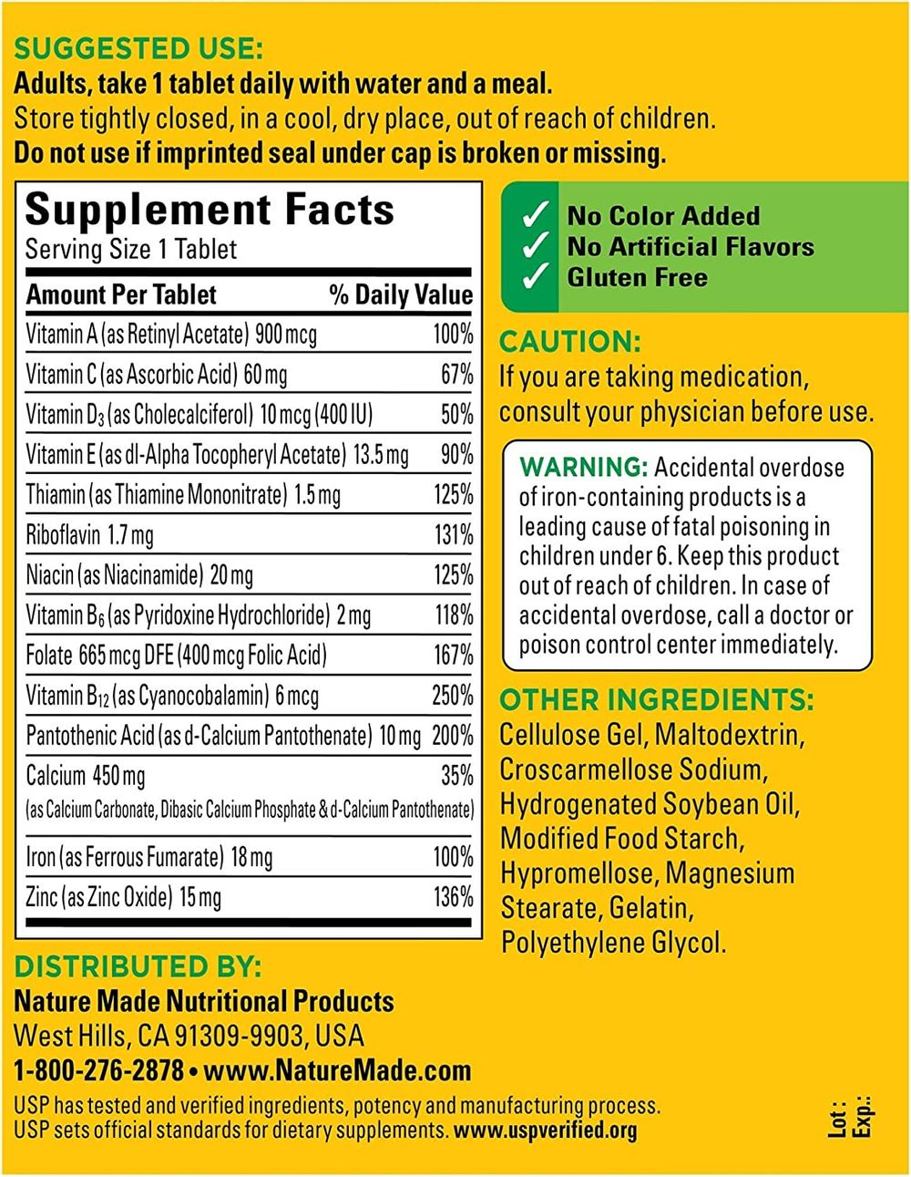Nature Made Multi Daily Vitamin With Iron and Calcium, Value Size, 300 Tablets