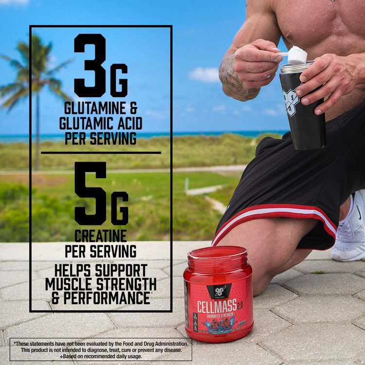 BSN CELLMASS 2.0 Post Workout Recovery with BCAA, Creatine, & Glutamine - Keto Friendly - Arctic Berry, (25 Servings) (1048058)