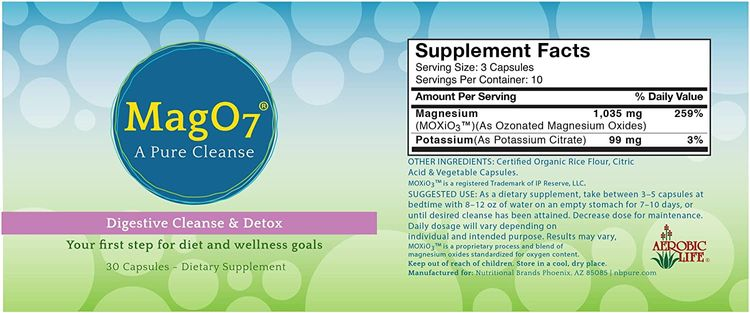 Aerobic Life Mag 07 Oxygen Digestive System Cleanse and Detox Capsules, 30 Count