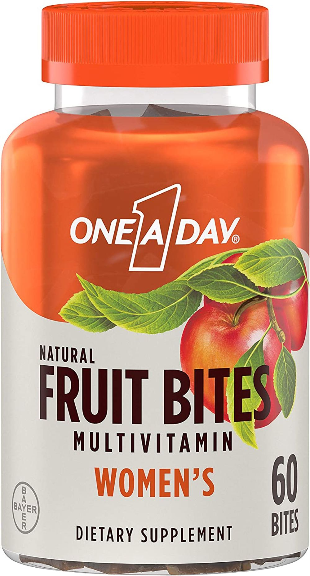 One A Day Women's Natural Fruit Bites Multivitamin with Immune Health Support, 60 Count (1 Month Supply), Gluten Free Vitamins with Vitamin A, Vitamin D, Vitamin E, B6, B12, Biotin & More