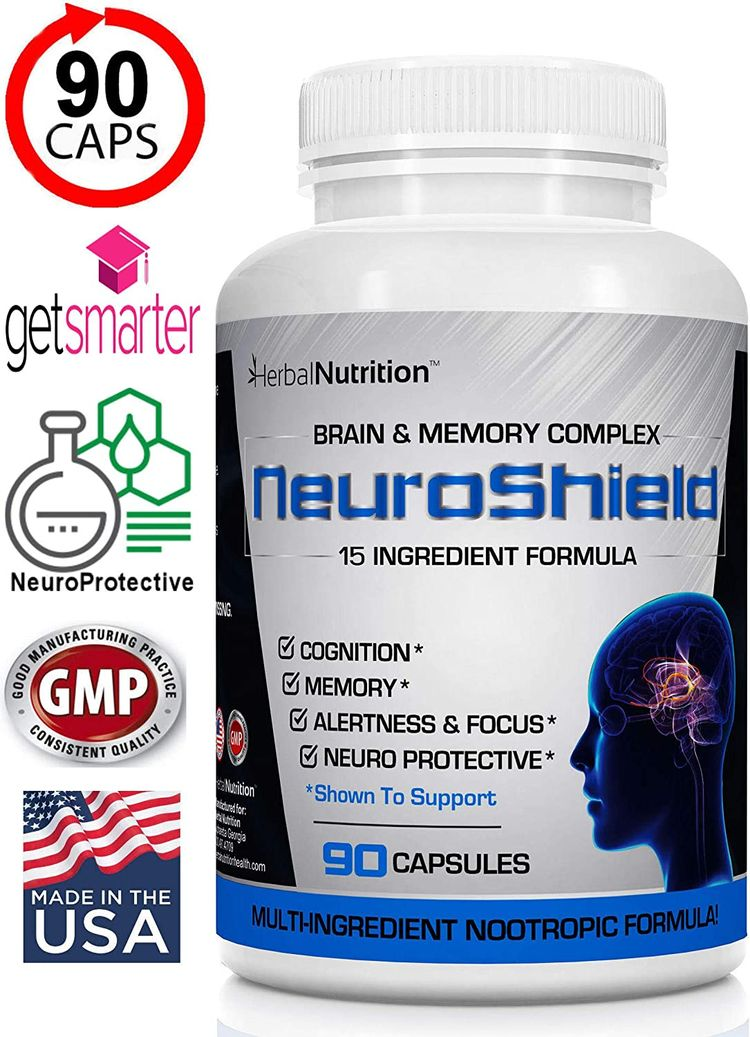 NeuroShield, Brain Supplement Nootropic Brain Booster and Memory Supplement, Contains Huperzine A, Bacopa, Ginkgo & More Plus Antioxidants for Brain Health, Multi-Ingredients, One Bottle, 90 Capsules