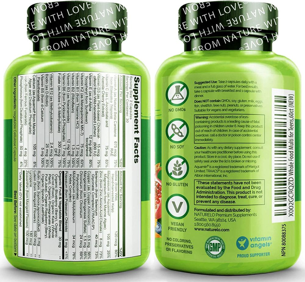 NATURELO Whole Food Multivitamin for Teens - Natural Vitamins & Minerals for Teenage Boys & Girls - Supplement for Active Kids - with Plant Extracts - Non-GMO - Vegan & Vegetarian - 60 Capsules