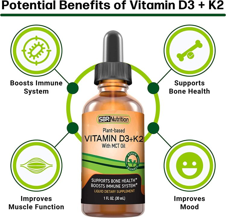 Vegan Vitamin D3 + K2 (MK-7) Liquid Drops with MCT Oil, Peppermint Flavor, Helps Support Strong Bones and Healthy Heart