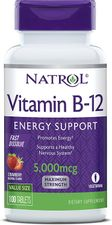 Natrol Vitamin B12 Fast Dissolve Tablets, Promotes Energy, Supports a Healthy Nervous System, Maximum Strength, Strawberry Flavor, 5,000mcg, 100 Count