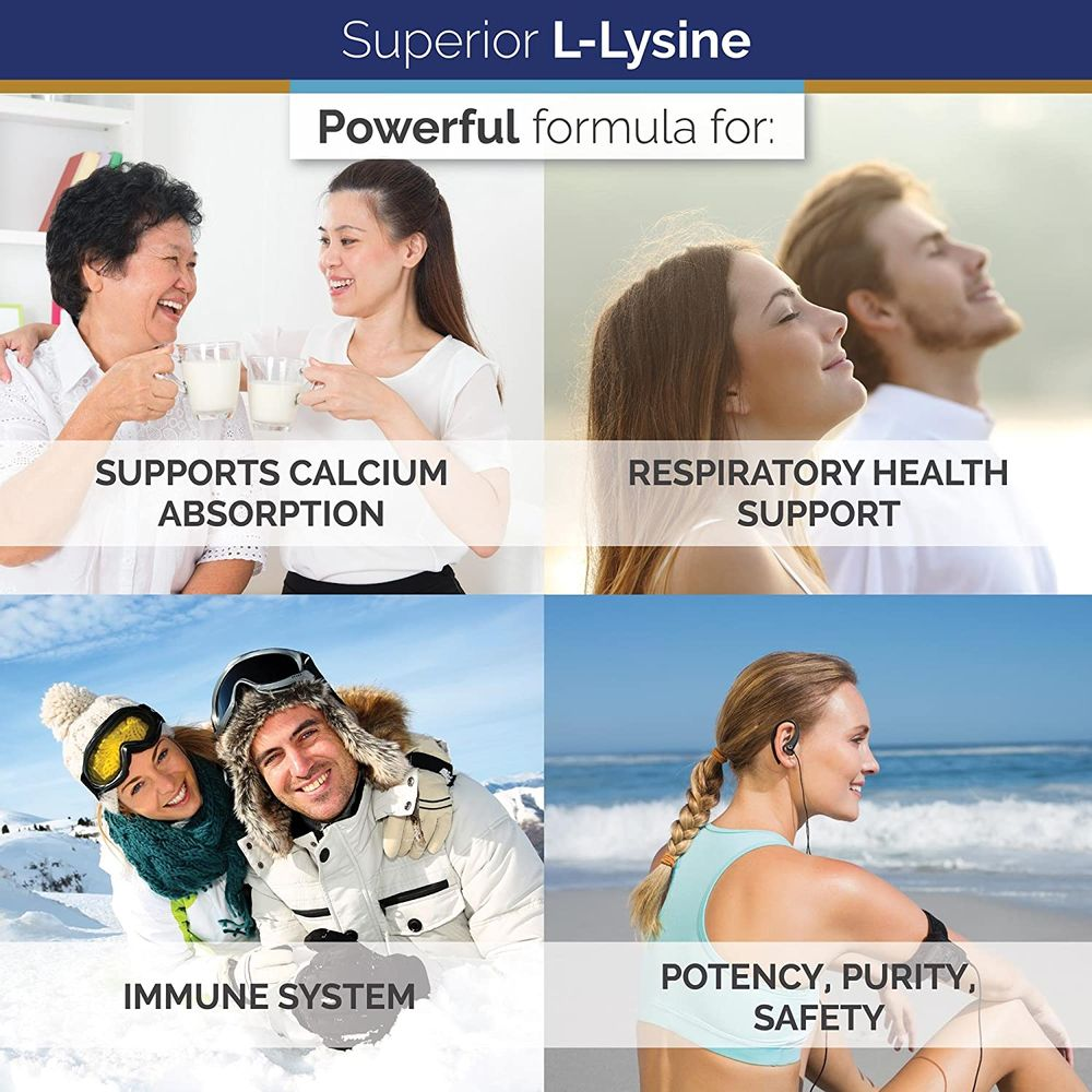 Superior Labs – Best L-Lysine NonGMO - Dietary Supplement –500 mg Pure Active L-Lysine – 120 Vegetable Capsules – Supports Calcium Absorption – Immune System & Respiratory Health Support