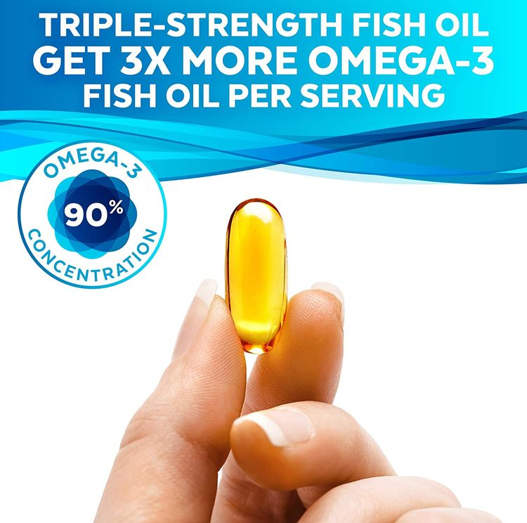 Omega 3 Fish Oil - Omega 3 Supplement with Essential Fatty Acid Combination of EPA & DHA, Triple Strength Wild Fish Oil softgels with No Fish Burps, 180 capsules